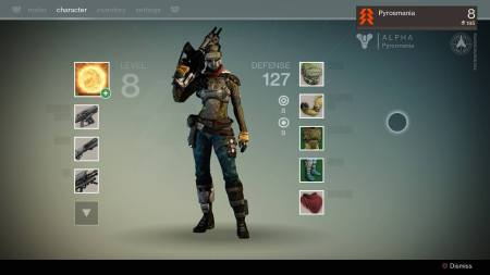 Hunter class Guardian, weapon and armor customization screen.Screenshot from Destiny First Look Alpha gameplay